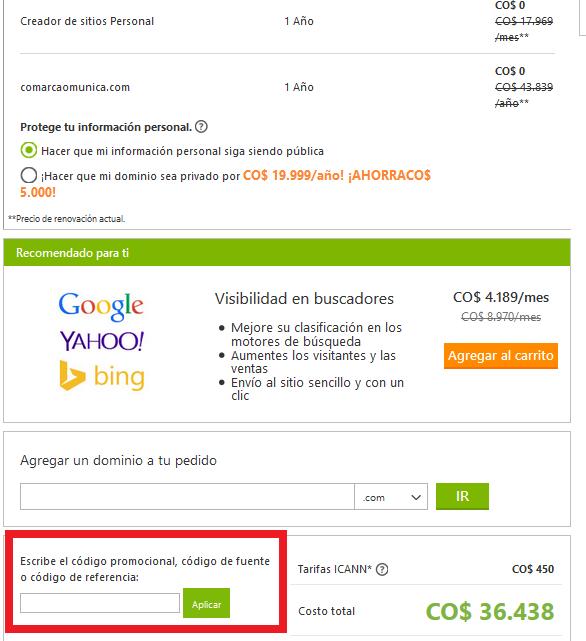 Descuento Código Promocional GoDaddy.com