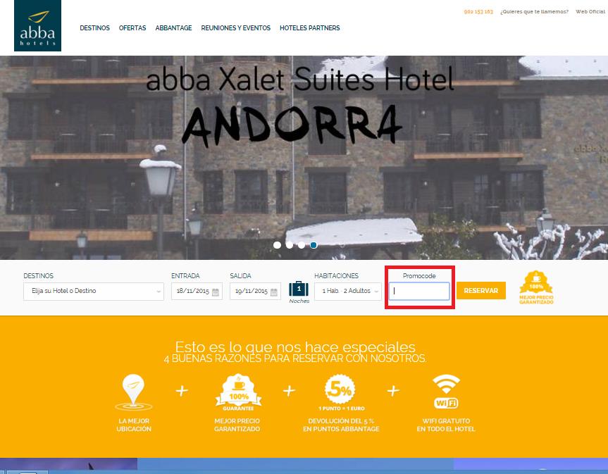 Descuento Código promocional abba hoteles