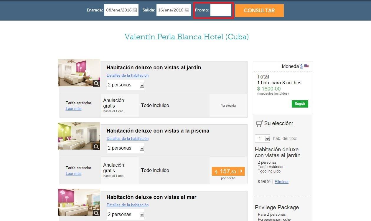 Descuento Código promocional Valentin Hoteles
