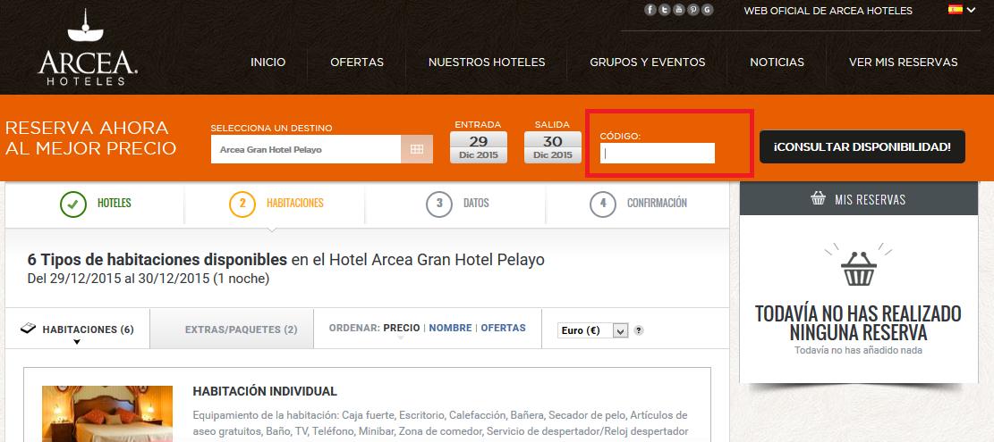 Descuento Código Promocional Arcea Hoteles