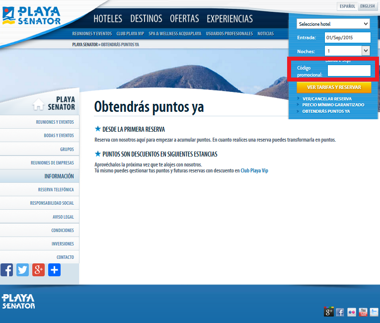 Descuento Código Promocional Hoteles Playa Senator
