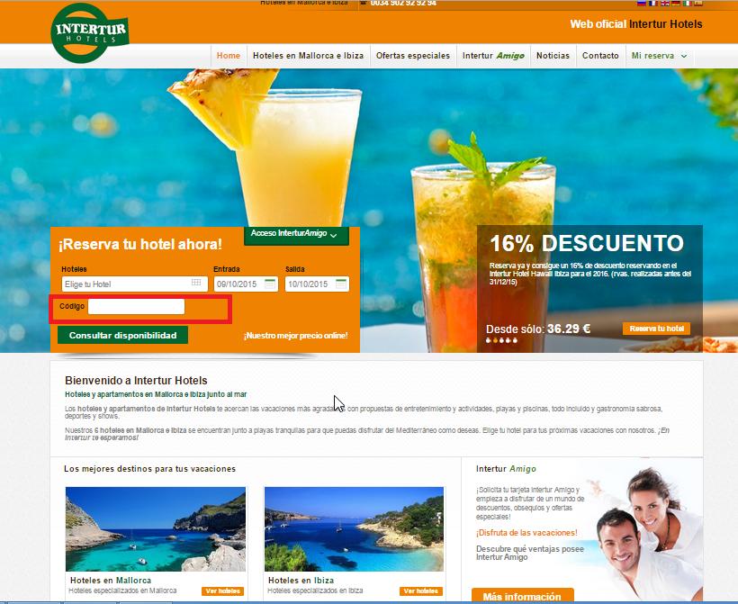 Descuento Código Promoción Intertur Hoteles