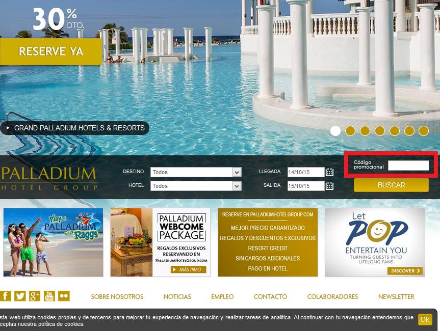 Descuento Código Promocional Palladium Hotels Group