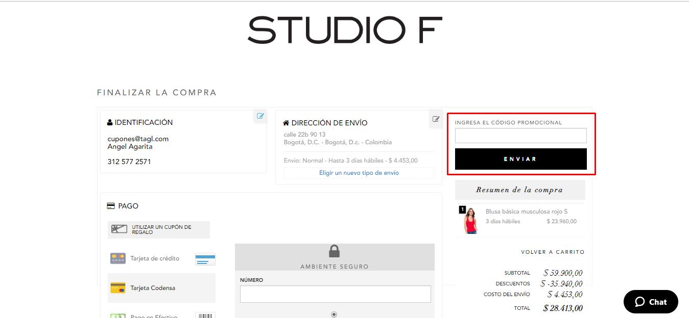 Descuento Código Promocional Studio F